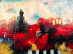JOHN AND ELLI MILAN (MODERN)MIXED MEDIA ON CANVAS City Colours V Signed, untitled 30? x 40? (76.