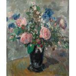 THOMAS DURKIN (1928-1990) OIL ON CANVAS Still Life-vase of flowers Signed 24? x 20? (61cm x 50.