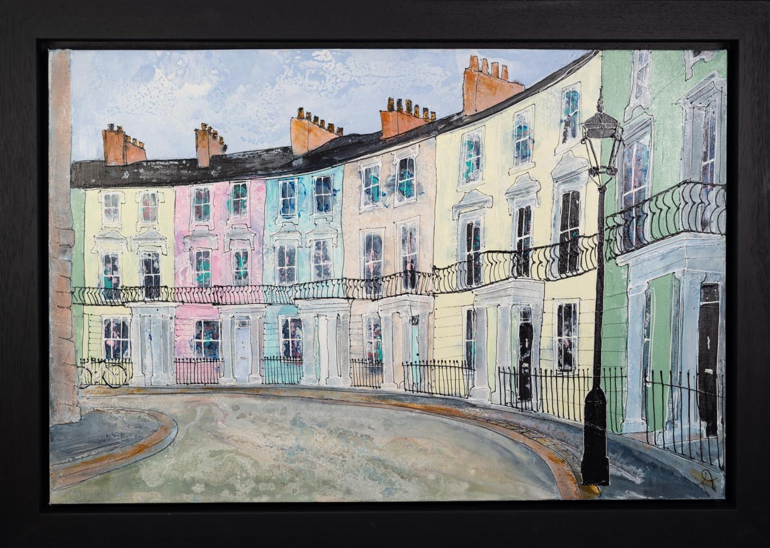 KATHARINE DOVE (MODERN) MIXED MEDIA ON CANVAS ?Chalcot Crescent? Initialled, signed and titled verso - Image 2 of 2