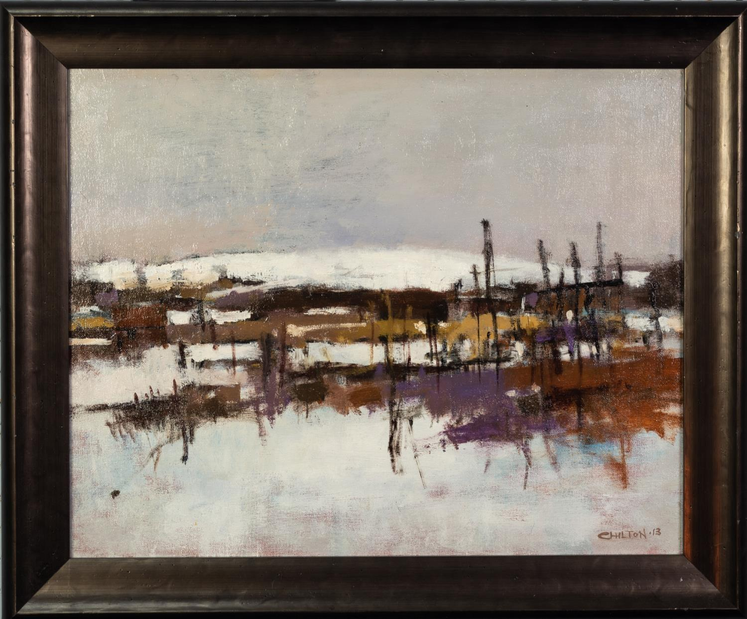 GEOFF CHILTON (MODERN) OIL ON CANVAS ?Langtoft Allotments? Signed, titled to label verso 15 ½? x - Image 2 of 2