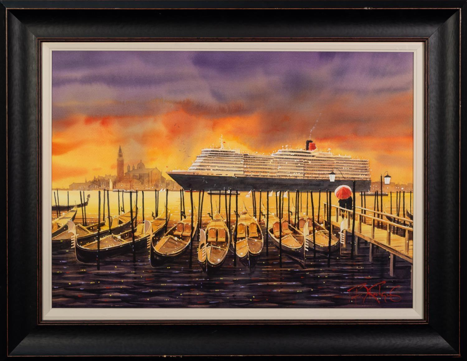 PETER J. RODGERS (MODERN) WATERCOLOUR ?Evening Departure Venice? Signed, titled to label verso 20? x - Image 2 of 2