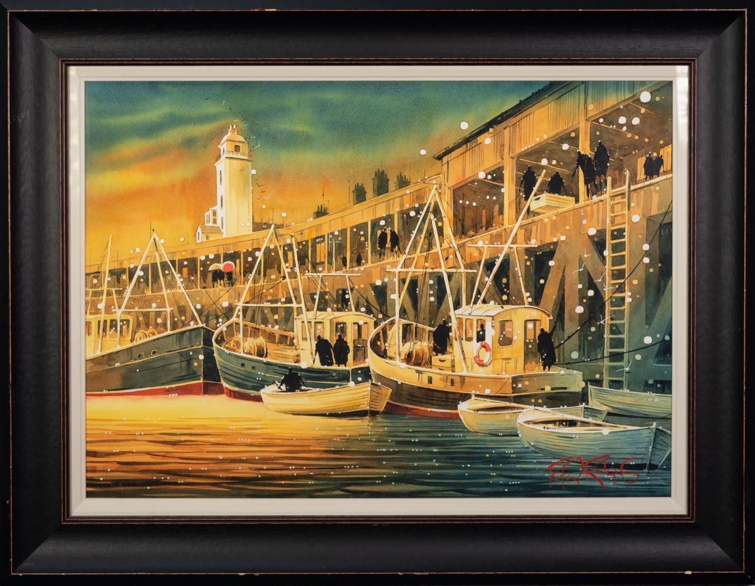 PETER J. RODGERS (MODERN) WATERCOLOUR ?Landing the Catch, Newcastle? Signed, titled to label verso - Image 2 of 2