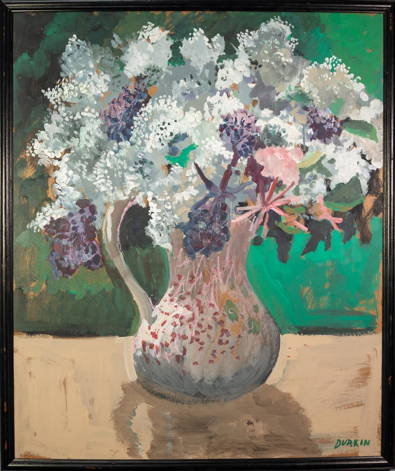 THOMAS DURKIN (1928-1990) OIL ON BOARD, heightened with pink pastel Still Life-jug of flowers Signed - Image 2 of 2
