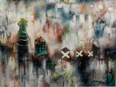 JOHN AND ELLI MILAN (MODERN) MIXED MEDIA ON CANVAS ?Grey Montage VI? Signed, titled to gallery label