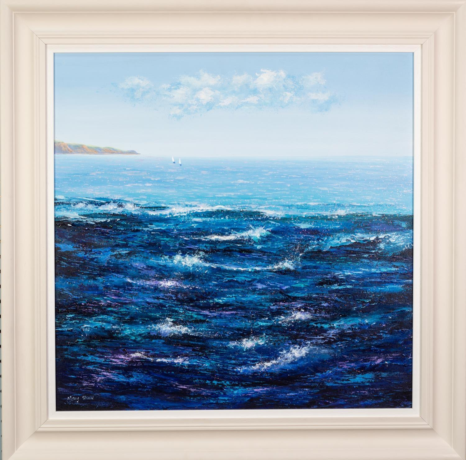 MARY SHAW (b.1955) OIL ON BOARD ?Sailing Away III? Signed, titled to label verso 24? x 24? (61cm x - Image 2 of 2