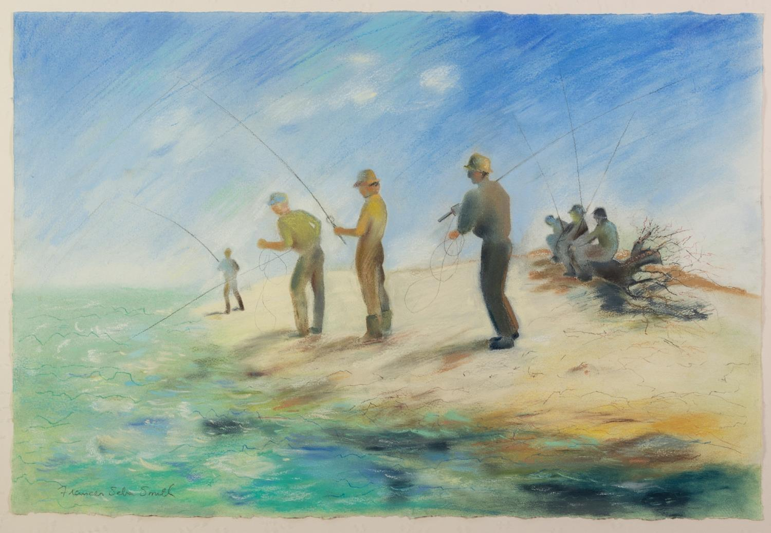 FRANCES SEBA SMITH (MODERN) PASTEL DRAWING Men fishing Signed 20? x 29? (50.8cm x 73.7cm) C/R-good