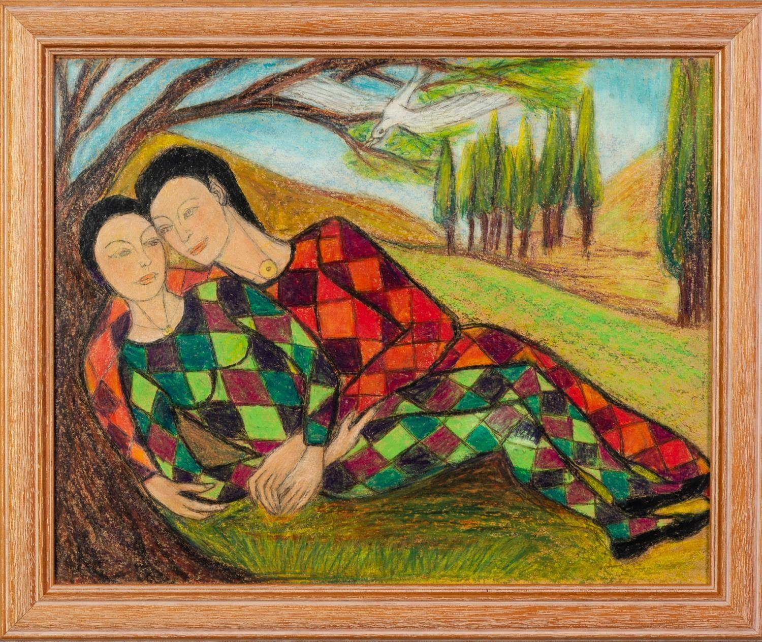 GOLDA ROSE (1921-2016) MIXED MEDIA ON BOARD Harlequin Lovers Unsigned 10 ½? x 13? (26.7cm x 33cm) - Image 2 of 2