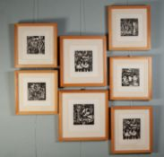 PETER OAKLEY (1935-2007) SEVEN ARTIST SIGNED LIMITED EDITION BLACK AND WHITE WOODCUTS OF SIMILAR