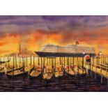 PETER J. RODGERS (MODERN) WATERCOLOUR ?Evening Departure Venice? Signed, titled to label verso 20? x