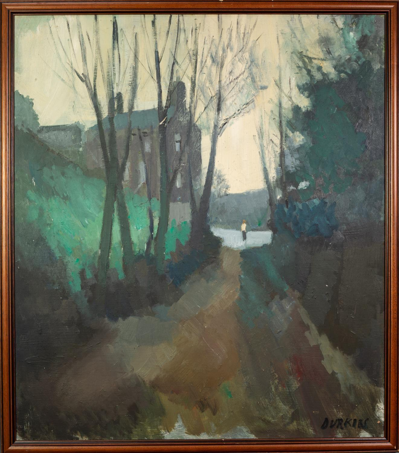 THOMAS DURKIN (1928-1990)OIL ON BOARD Tree lined lane with figure and houses Signed 30? x 27? (76. - Image 2 of 2