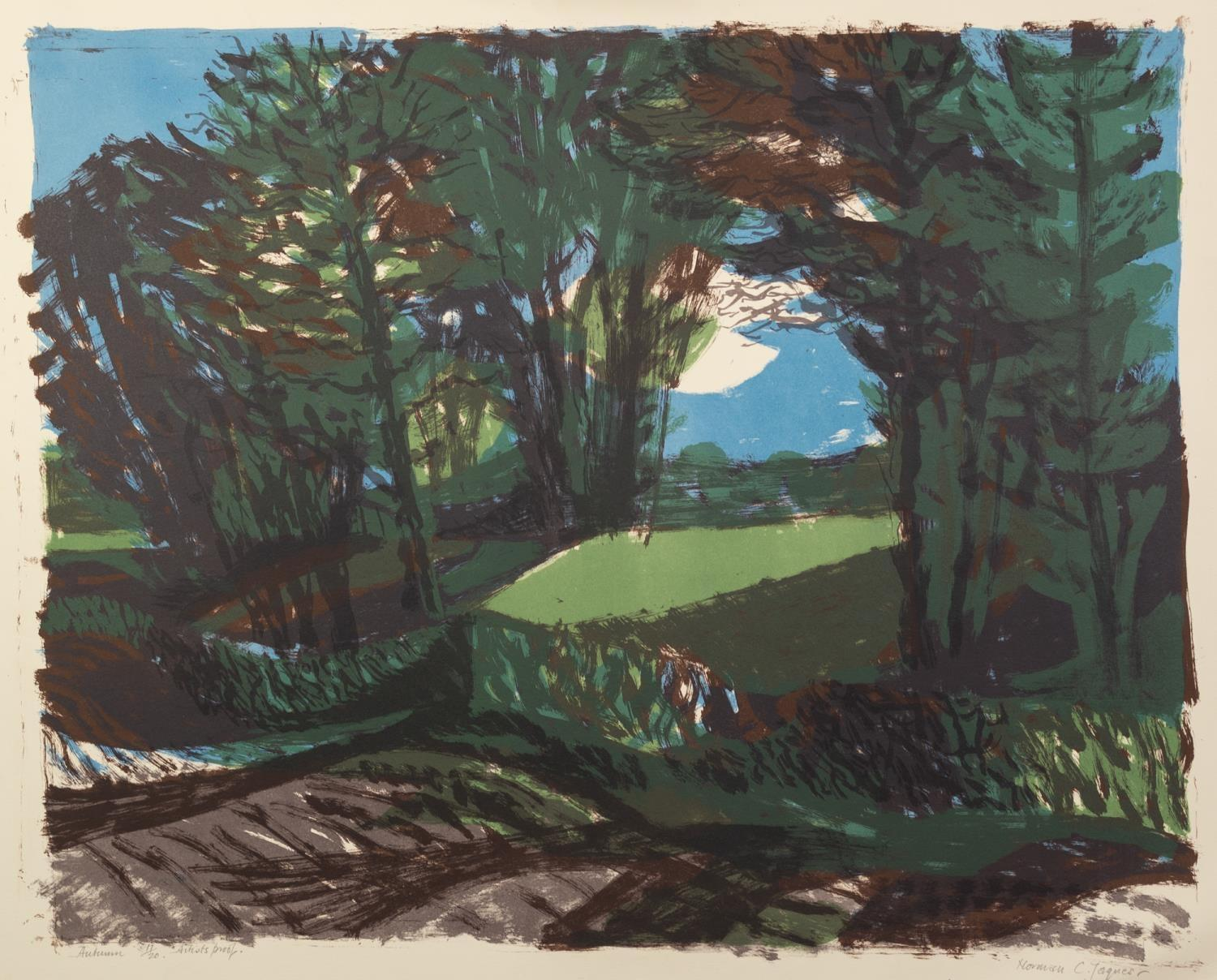 NORMAN JAQUES (1922-2014) TWO COLOUR PRINTS?Autumn?, (17/20), Signed Artist Proof ?Fish Tank?, (10/ - Image 2 of 2