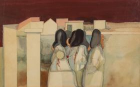 JOHN PICKING (b.1939) WATERCOLOUR The Ragazzi Guardians Signed and dated (19)71 11? x 18? (28cm x