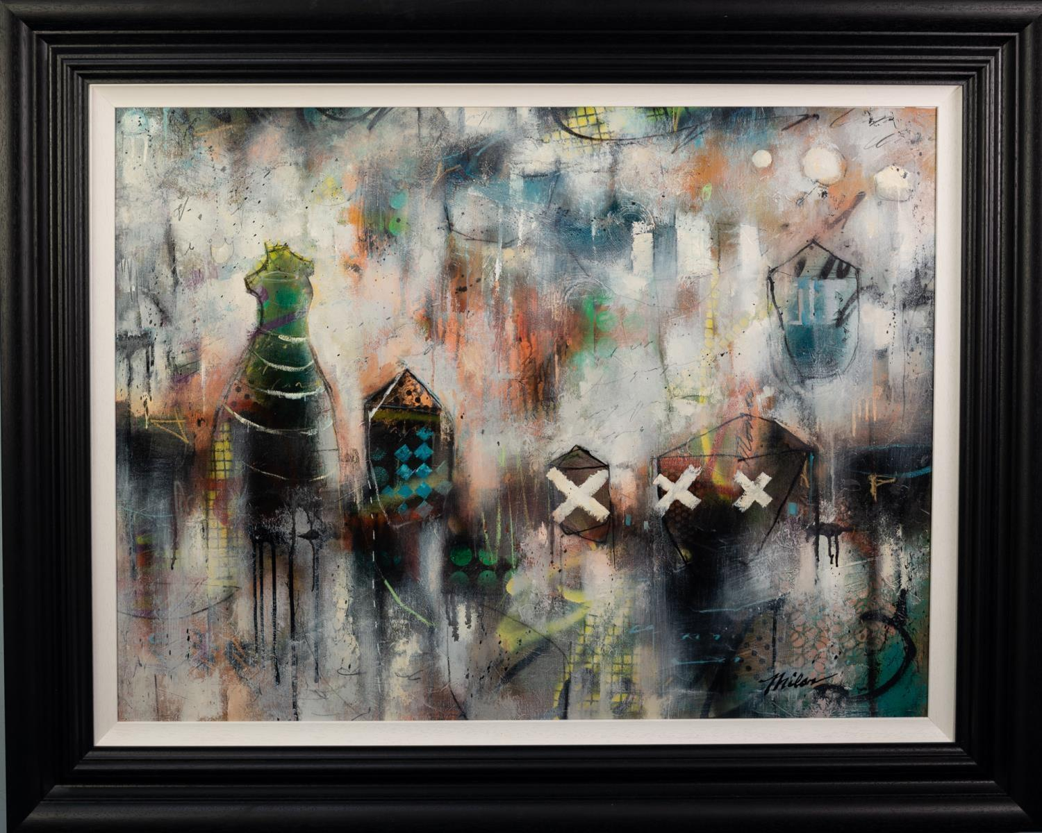 JOHN AND ELLI MILAN (MODERN) MIXED MEDIA ON CANVAS ?Grey Montage VI? Signed, titled to gallery label - Image 2 of 2