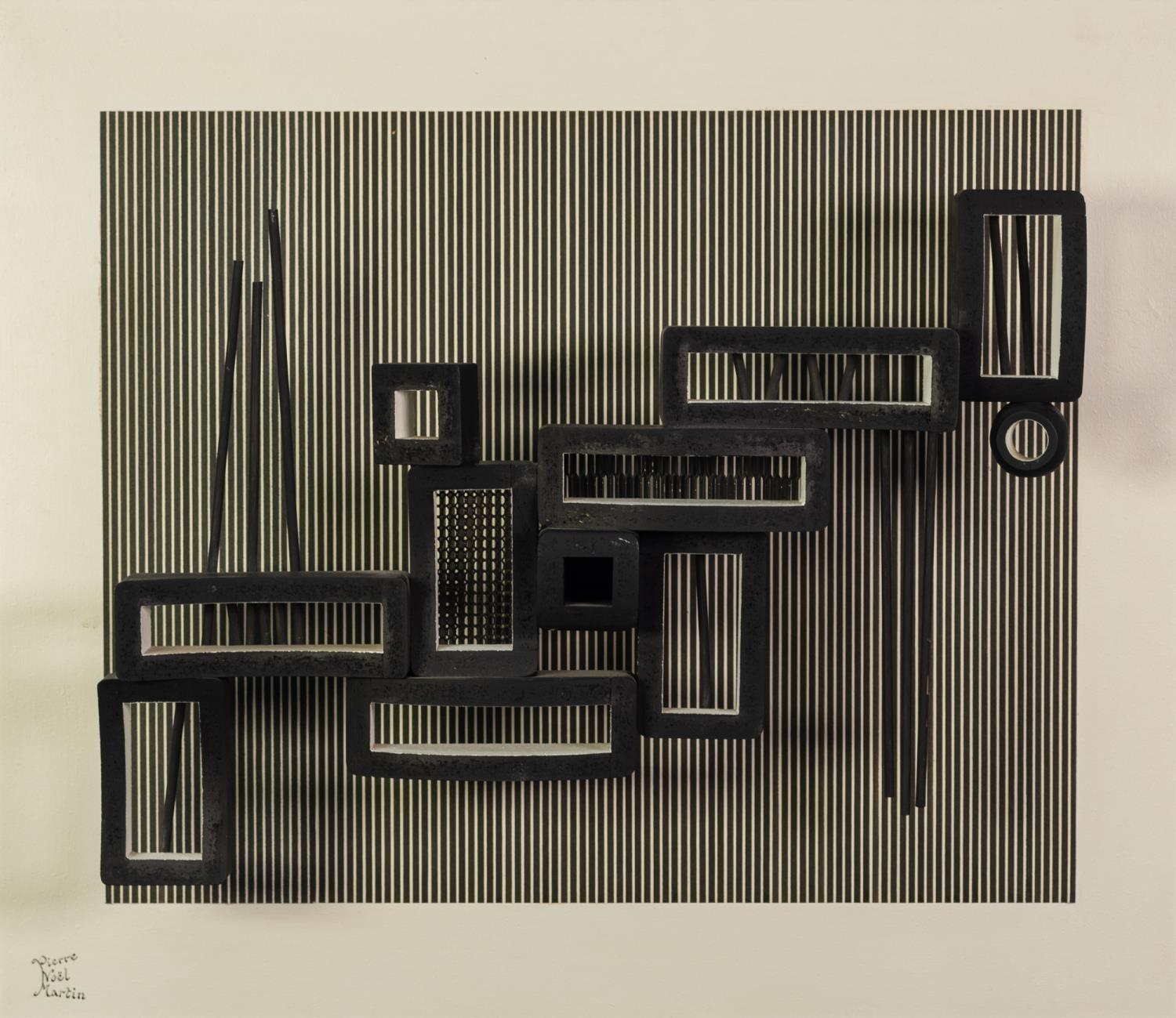 PIERRE NOEL MARTIN (1951-2006) MIXED MEDIA MOUNTED ON BOARD ?Vibra?, Abstract black and white