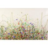JENNIFER HOGWOOD (MODERN) OIL ON CANVAS ?Geraniums in Bloom? Signed, titled verso 24? x 36? (61cm