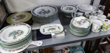 A 45 PIECE MODERN ROYAL WORCESTER PORCELAIN 'WORCESTER HERBS' PATTERN DINNER AND TEA SERVICE WITH