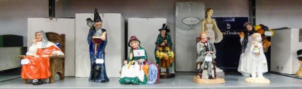EIGHT MODERN ROYAL DOULTON FIGURES, RESPECTIVELY 'JUDGE', 'BIDDY PENNY FARTHING', 'THE MASK SELLER',