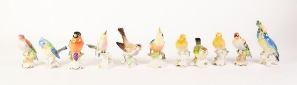ELEVEN MODERN GERMAN PORCELAIN BIRD ORNAMENTS (11)