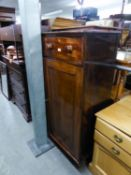 A MAHOGANY  CUPBOARD, HAVING TWO DRAWERS, WITH KNOB HANDLES OVER TWO PANEL DOORS (144cm high x