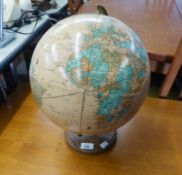 'CRAMS IMPERIAL WORLD GLOBE' MODERN TERRESTRIAL GLOBE ON GILT METAL SUPPORTS AND TURNED OAK BASE,