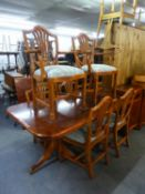 WADE FURNITURE, YEWWOOD DINING ROOM SUITE OF 9 PIECES, VIZ SIX DINING CHAIRS (4+2) A DOUBLE PEDESTAL
