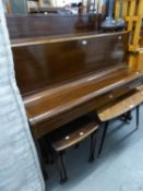 BURLING & MANSFIELD MAHOGANY UPRIGHT PIANOFORTE, IRON FRAMED AND OVERSTRUNG