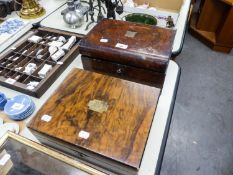 VICTORIAN LADIES BURR WALNUTWOOD WORK BOX WITH BRASS TABLET, ROUNDED LONG EDGES AND BUTTONED BLUE