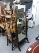 A MAHOGANY GEORGIAN STYLE CHEVAL ROBING MIRROR, WITH RECTANGULAR BEVELLED EDGE PLATE