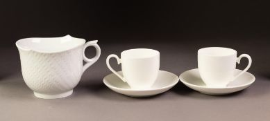 MODERN MEISSEN ?WAVES? PATTERN WHITE PORCELAIN BREAKFAST CUP, together with a PAIR OF MODERN