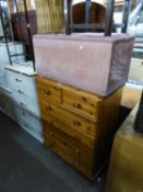 A PINE CHEST OF TWO SHORT AND FOUR LONG DRAWERS AND A FABRIC COVERED BEDDING BOX (2)
