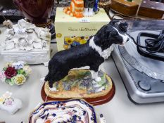 """'BORDER FINE ARTS' LARGE RESIN MODEL OF A 'BORDER COLLIE, STANDING' No. A1865, on wooden plinth, 10"""""""