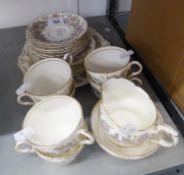 A PARAGON FINE BONE CHINA 'CHRYSANTHEMUM' PATTERN TEA SERVICE FOR SIX PERSONS, 21 PIECES VIZ 6 CUPS,