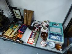 ORIENTAL TEA SET (BOXED), AND OTHER VARIOUS ORIENTAL ITEMS TO INCLUDE; FANS, CHOP STICKS, BOWLS