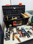 LARGE TOOL BOX CONTAINING VARIOUS TOOLS, HAND SAWS, STANLEY PLANE, CLAMPS ETC.....