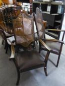 PAIR OF MID/ LATE TWENTIETH CENTURY STAINED BEECH HIGH BACK CARVER DINING CHAIRS, each with caned