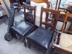 PAIR OF MAHOGANY SPINDLE BACK DINING CHAIRS WITH OVER STUFFED SEATS (2)