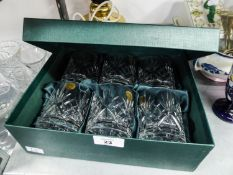 A BOXED SET OF SIX MODERN ITALIAN LEAF CRYSTAL TUMBLERS