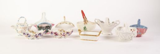 COLLECTION OF MOSTLY MODERN CONTINENTAL AND FOREIGN CERAMIC SMALL BASKETS, including a K.P.M.