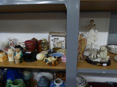 DECORATIVE ITEMS VARIOUS TO INCLUDE; FIGURINES, POLAR BEAR ORNAMENT, VARIOUS POTTERY TRINKET