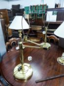PAIR OF GOOD QUALITY TABLE LAMPS ON CIRCULAR BASES AND SWING ARM TO THE TOP (NO SHADES) (43cm HIGH)
