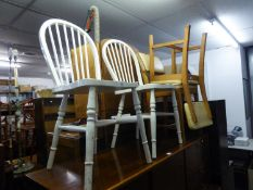 A PAIR OF WHITE PAINTED HOOP BACK CHAIRS, AND A PAIR OF 1960's CHAIRS (4)