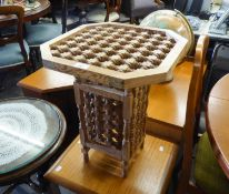 A PINE OCCASIONAL TABLE, WITH BOBBIN TURNED RECTANGULAR TOP WITH CANTED CORNERS ON FOUR BALUSTER