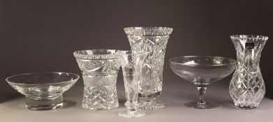 FOUR CUT GLASS FLOWER VASES, including a ROYAL DOULTON EXAMPLE, together with a DARTINGTON GLASS