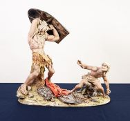 IMPRESSIVE MODERN CAPO DI MONTE CHINA AND SILVERED METAL GROUP OF DAVID AND GOLIATH, SIGNED