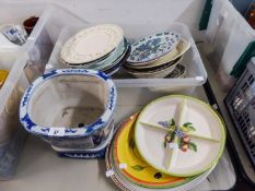 RIDGWAY FLORAL BORDER MEAT PLATE, TWO OTHER MEAT PLATES, ROYAL DOULTON 'QUEEN ELIZABETH AT OLD