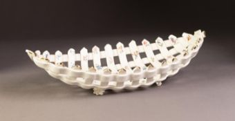 LATE 19th CENTURY, PROBABLY CONTINENTAL, PORCELLANEOUS HAND LATTICED BOAT SHAPE SHALLOW BOWL,