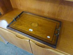 AN EDWARDIAN SATINWOOD OBLONG TRAY, WITH CIRCULAR MARQUETRY FAN INLAY AND INLAY BAND, GALLERY