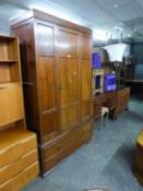 A MAHOGANY PRE-WAR BEDROOM SUITE OF 4 PIECES, VIZ A WARDROBE WITH SINGLE DOOR AND TWO LONG DRAWERS