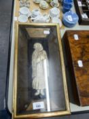REPRODUCTION IN IVORINE OF AN ANCIENT JEWISH CARVED IVORY TOMB FIGURE IN PLUSH LINED AND GLAZED