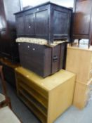 A STAINED WOOD BLANKET CHEST AND AN OAK STORAGE BOX AND A FOUR TIER UNIT (FOLIO SIZE) (3)